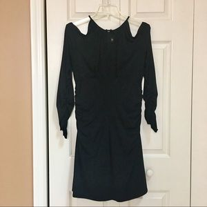 Laundry Cold Shoulder Ruched Black Dress